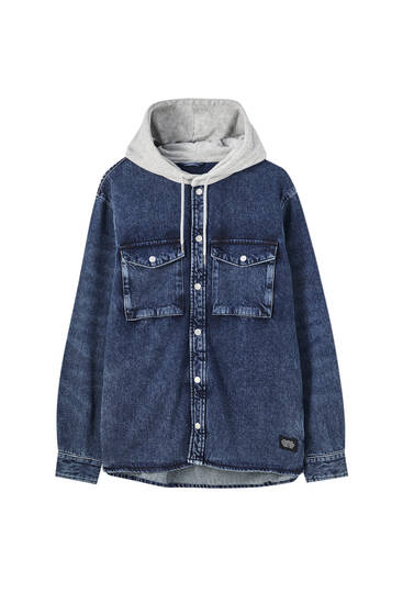 Denim overshirt with hood