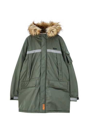Parka with nylon details