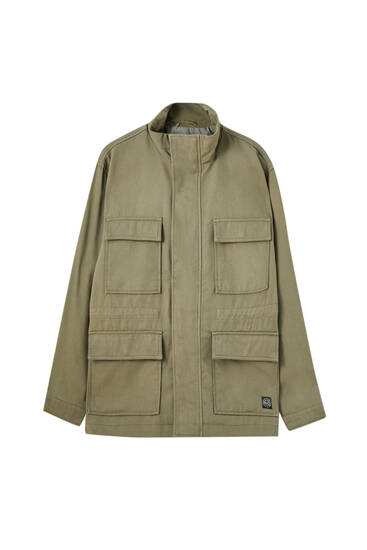 Multi-pocket khaki jacket