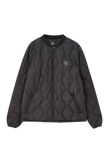 Quilted bomber jacket with slogan