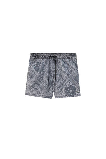 Short paisley print swimming trunks