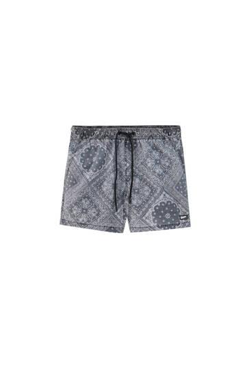 Short paisley print swimming trunks