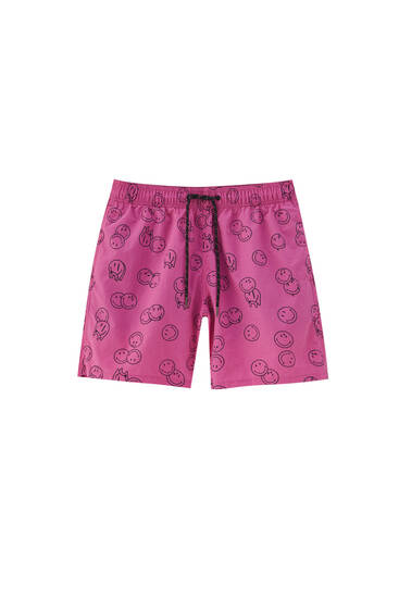 Smiley® print swimming trunks