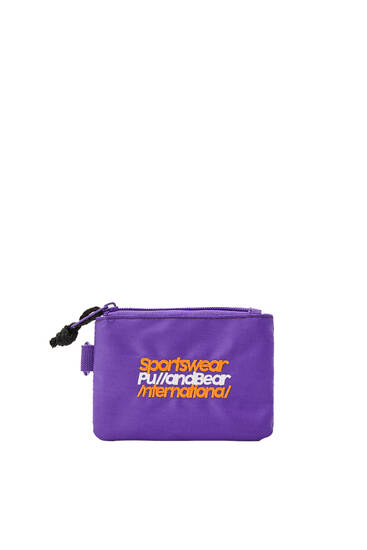 Purple coin purse with letters