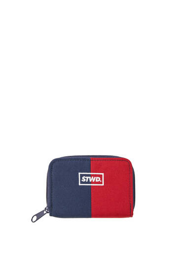 Contrast blue and red wallet