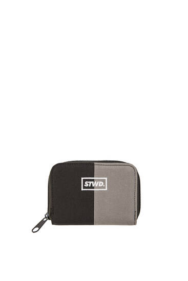 Contrast black and grey wallet