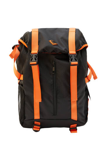 Black hiking backpack with straps