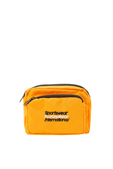 Orange belt bag with contrast slogan