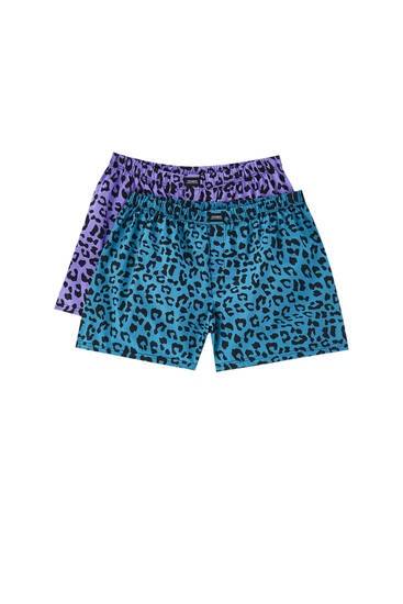 2-pack of poplin boxers with a leopard print
