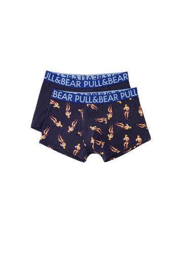 Pack of 2 pairs of boxer print boxers