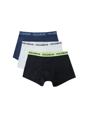 Pack of boxers with colourful waistband