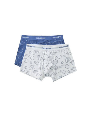 Pack of seashell print boxers