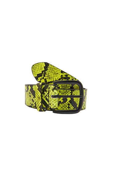 Neon snakeskin print belt