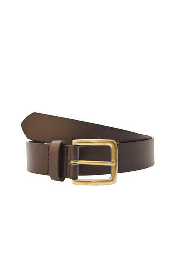 Brown belt with gold-toned buckle