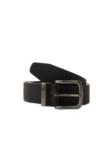Black faux leather belt with a metal buckle