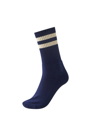 Sports socks with contrast striped print