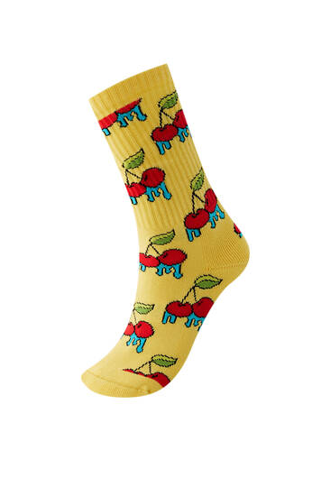 Yellow cherry socks