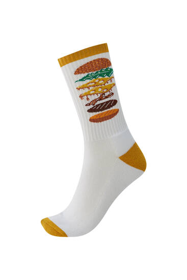 Hamburger print sports socks