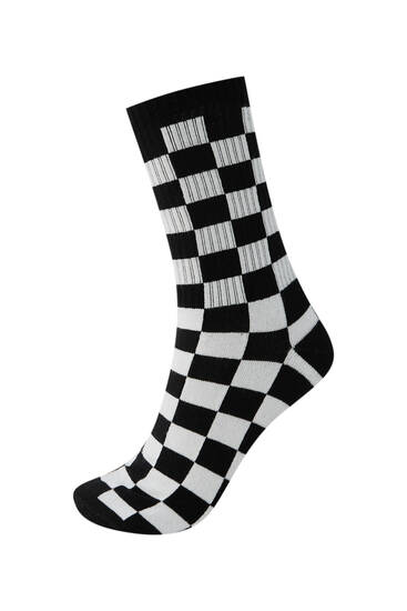 Check print sports socks