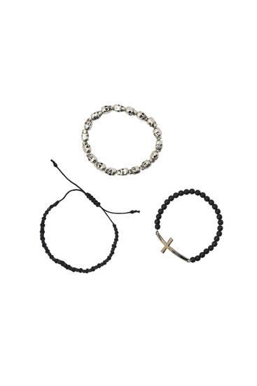 Pack of 3 skull bracelets