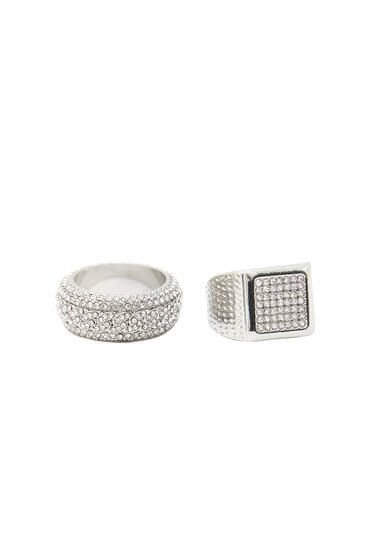 Pack of 2 bling bling rings