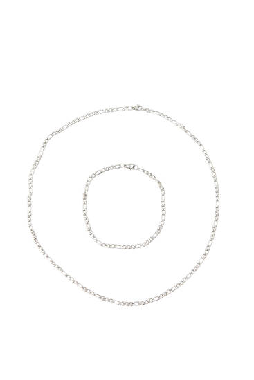 Silver-coloured necklace and bracelet set
