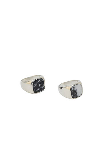 Pack of 2 stone rings
