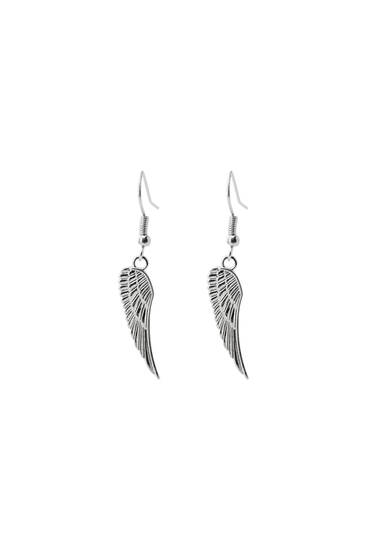 Silver-coloured feather earring