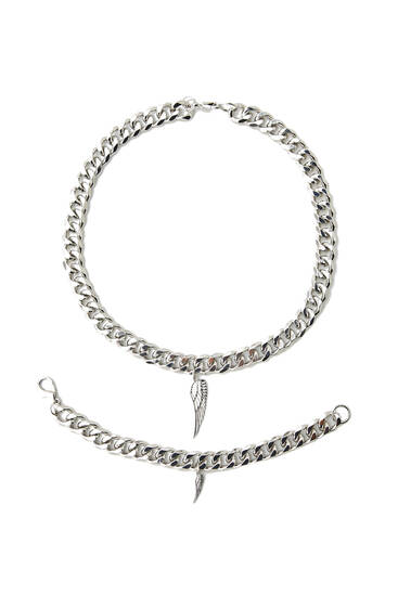 Pack of feather chain and bracelet