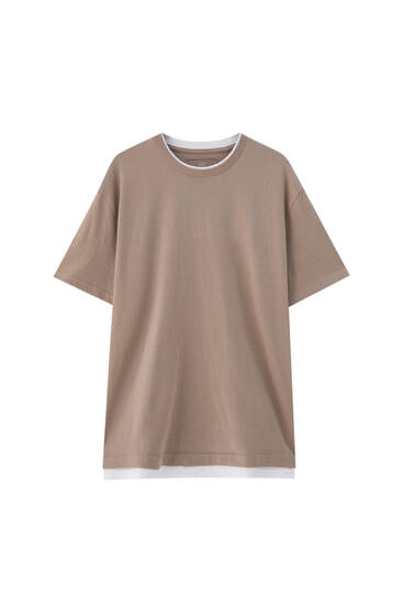 Basic T-shirt with double-layer hem