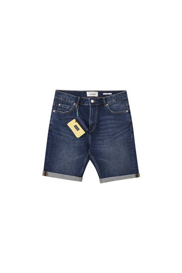 Slim fit denim Bermuda shorts with wallet