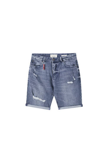 Slim fit Bermuda short met scheuren