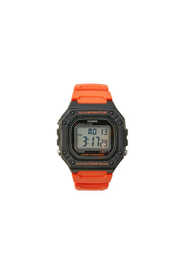 Orange Casio W-218H-4B2VEF digital watch