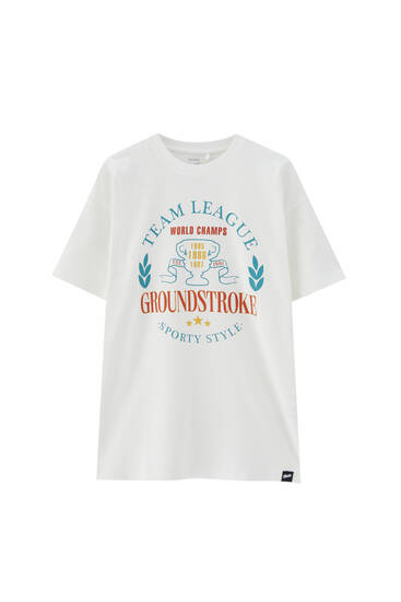 White varsity T-shirt with logo illustration
