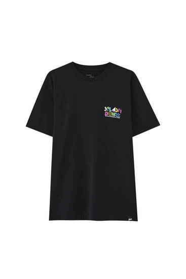 Black T-shirt with coloured print