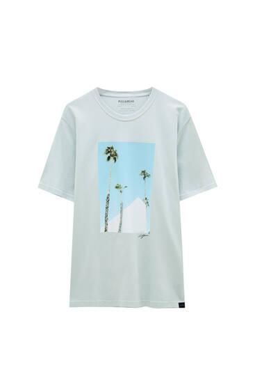 Roze T-shirt met palmboomprint