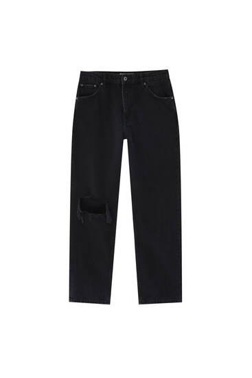 Μαύρο τζιν παντελόνι με φαρδύ μπατζάκι και σκίσιμο