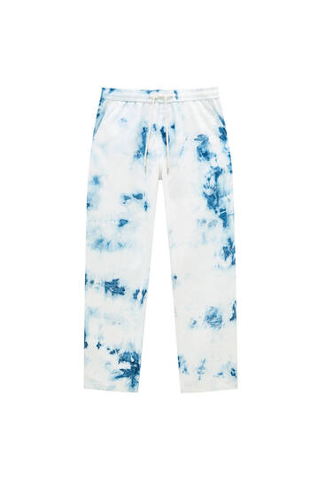 Tie-dye jeans with elastic waistband