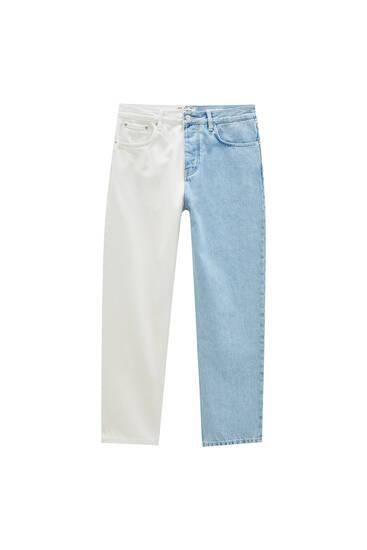 White colour block jeans