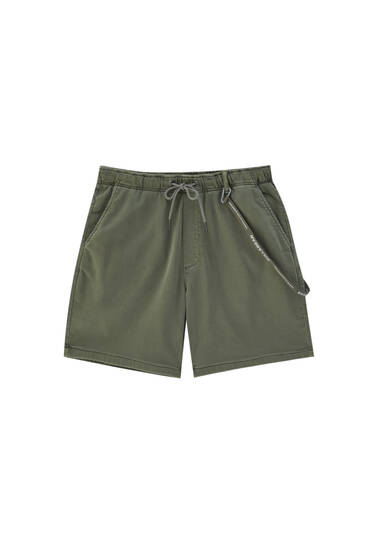 Knit Bermuda shorts with drawstring detail