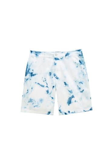 Tie-dye print denim Bermuda shorts