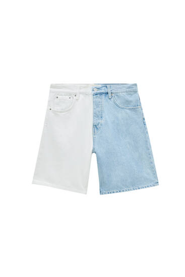 White colour block denim bermuda shorts