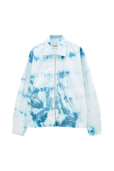 Tie-dye print denim jacket