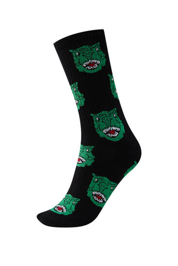 Black socks with dinosaur print - Ecologically grown cotton (at least 60%)