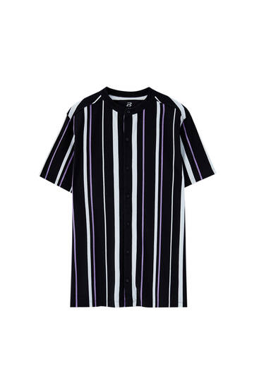 Vertical striped print polo shirt