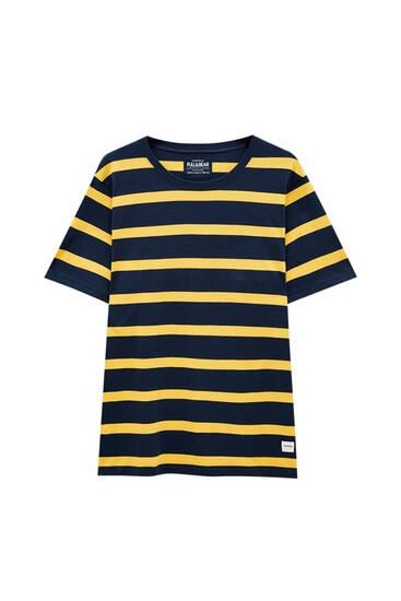 Contrast stripe print T-shirt