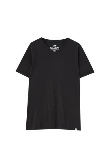 Basic black V-neck T-shirt