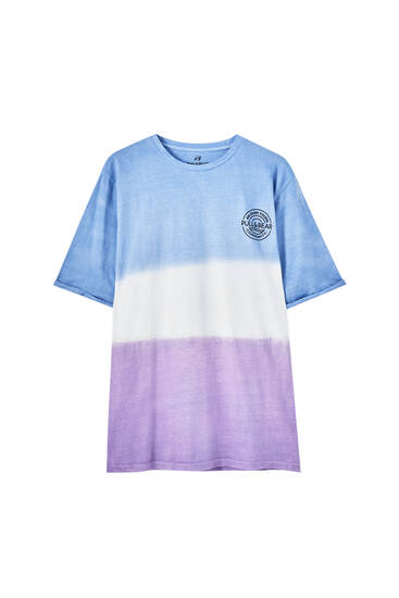 Tie-dye T-shirt with a contrast logo