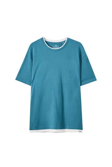 Μπλούζα με διπλό γιακά σε αντίθεση
