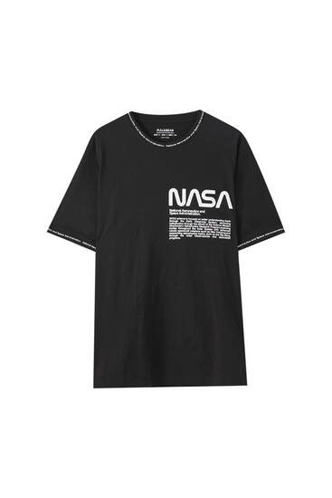 Ribbed NASA T-shirt with slogan